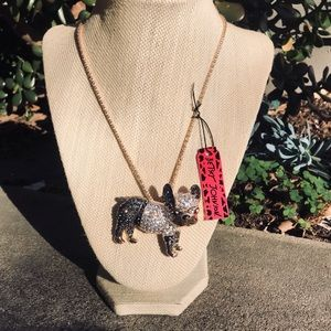 Betsey Johnson bulldog necklace / pin